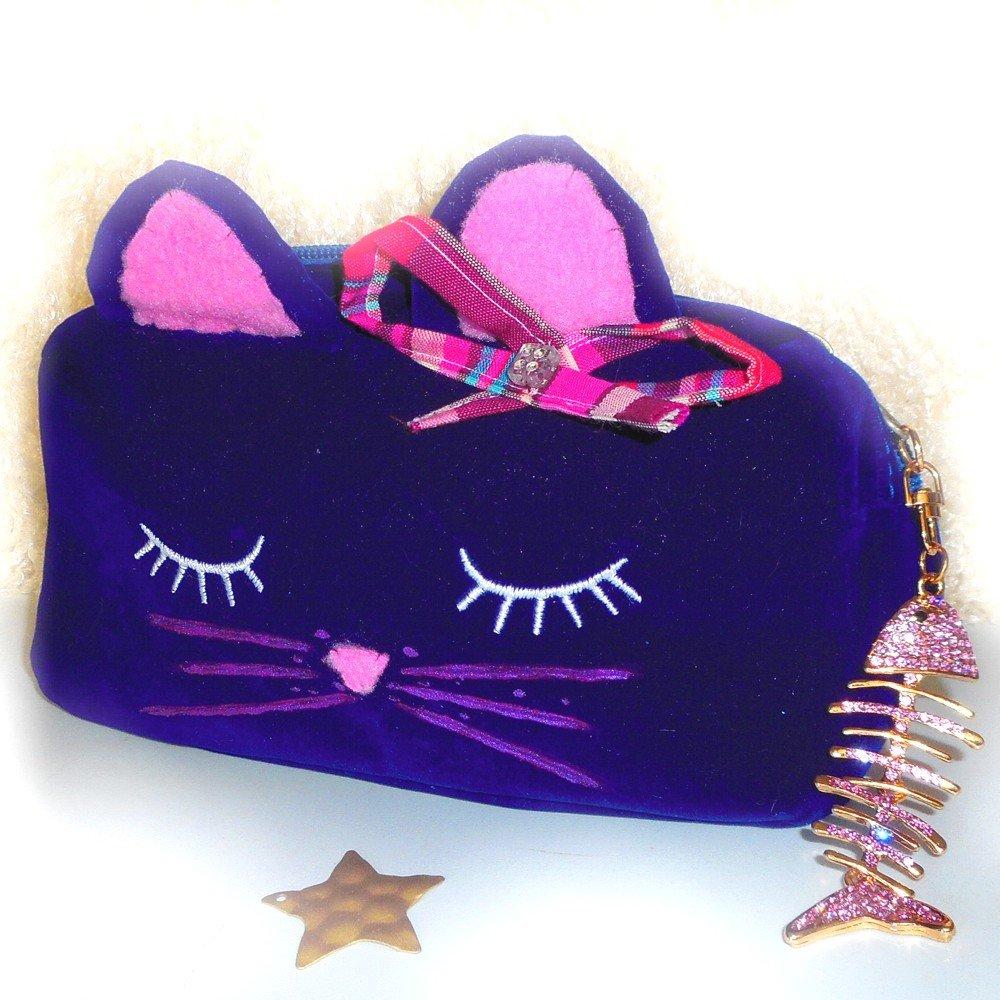Trousse de toilette, maquillage chat originale pour petite fille et femme