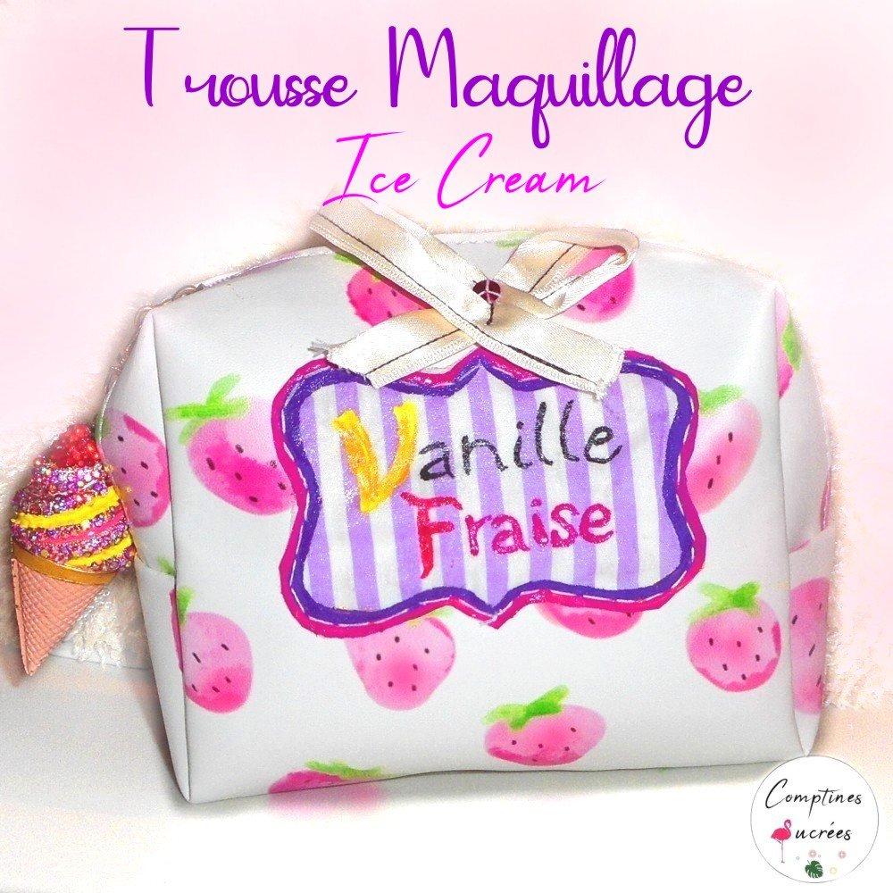 Petite trousse maquillage gourmande pour petite fille mignonne avec fraises et glace