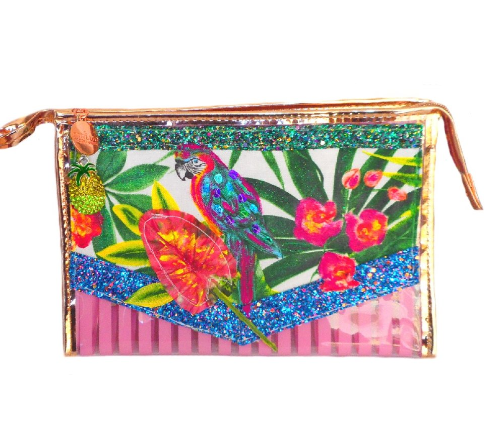 Grande trousse maquillage tropicale jungle rose transparente en plastique