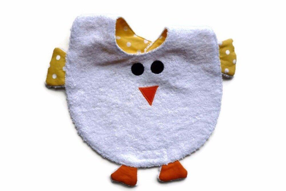 Bavoir poussin en éponge pour bébé premier âge. Bavoir de Pâques.