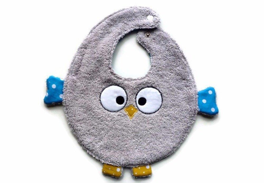 Bavoir hibou pour tout-petit, une face éponge, une face coton, pour Pâques