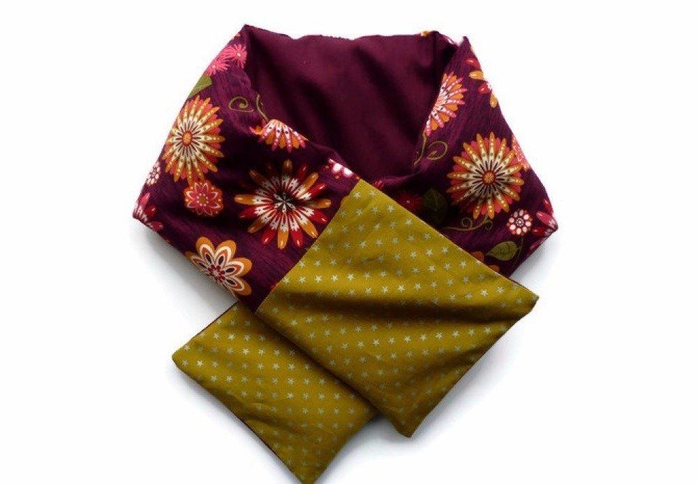 Bouillotte cervicale déhoussable, modèle écharpe, prune et olive, au blé bio