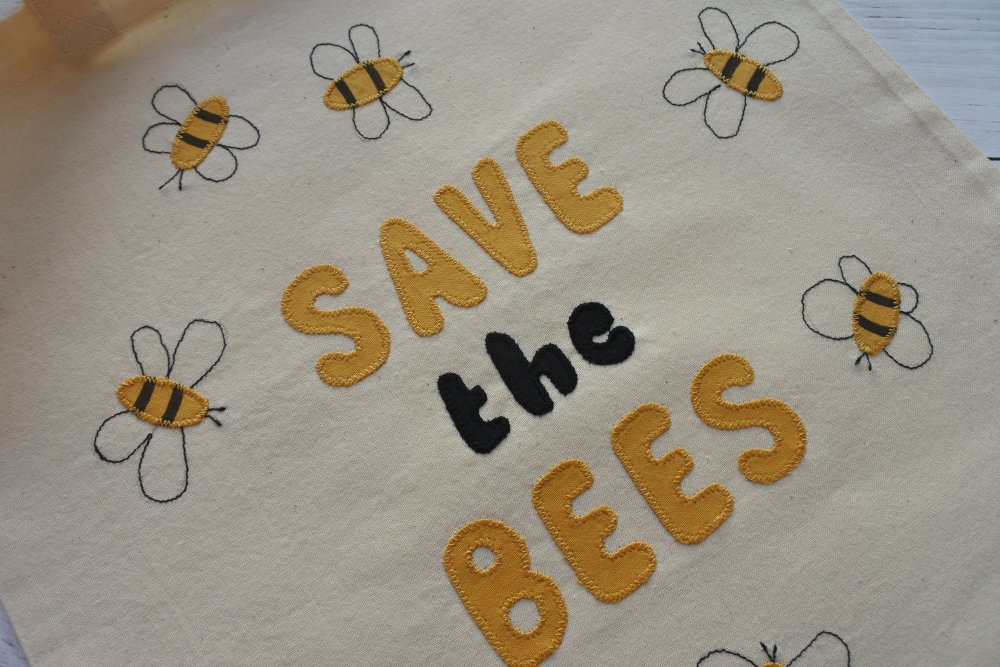 "Tote bag, sac réutilisable, sac cabas à message: "" Save the Bees"". Fête des Mères"