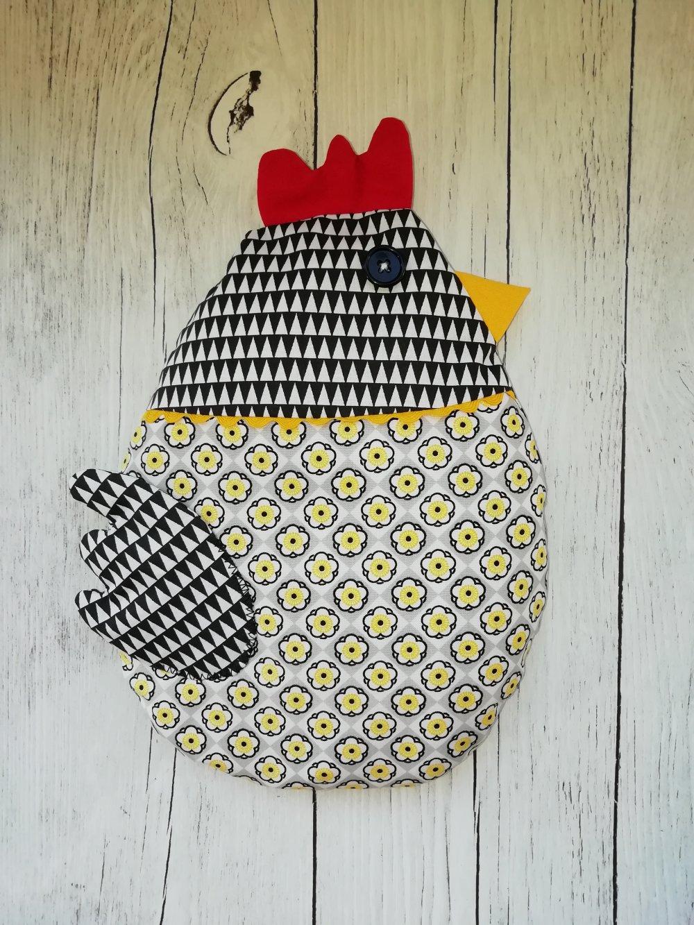 Bouillotte poulette déhoussable, jaune et noire, au blé bio.* Noël*