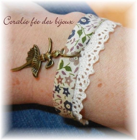 bracelet biais liberty dentelle,breloque danseuse