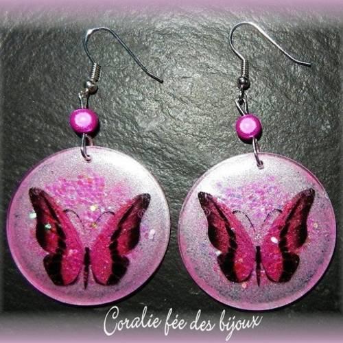 Violet boucles d/'oreilles papillon de résine et cristal