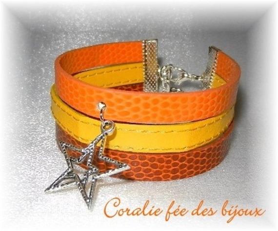 bracelet manchette 3 rangs en simili breloque étoile tons orange/jaune/marron