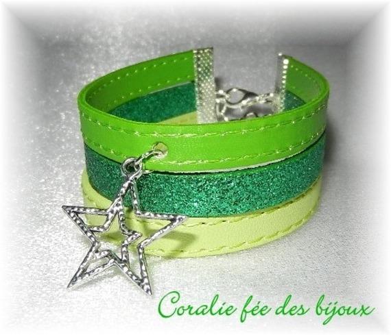 bracelet manchette 3 rangs en simili et pailleté breloque étoile tons verts