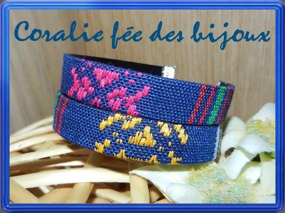 bracelet double ruban ethnique mode doublé simili cuir