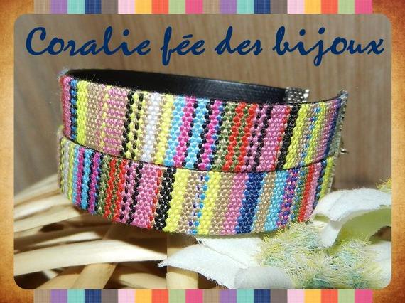 bracelet double ruban ethnique mode doublé simili cuir tons multicolore