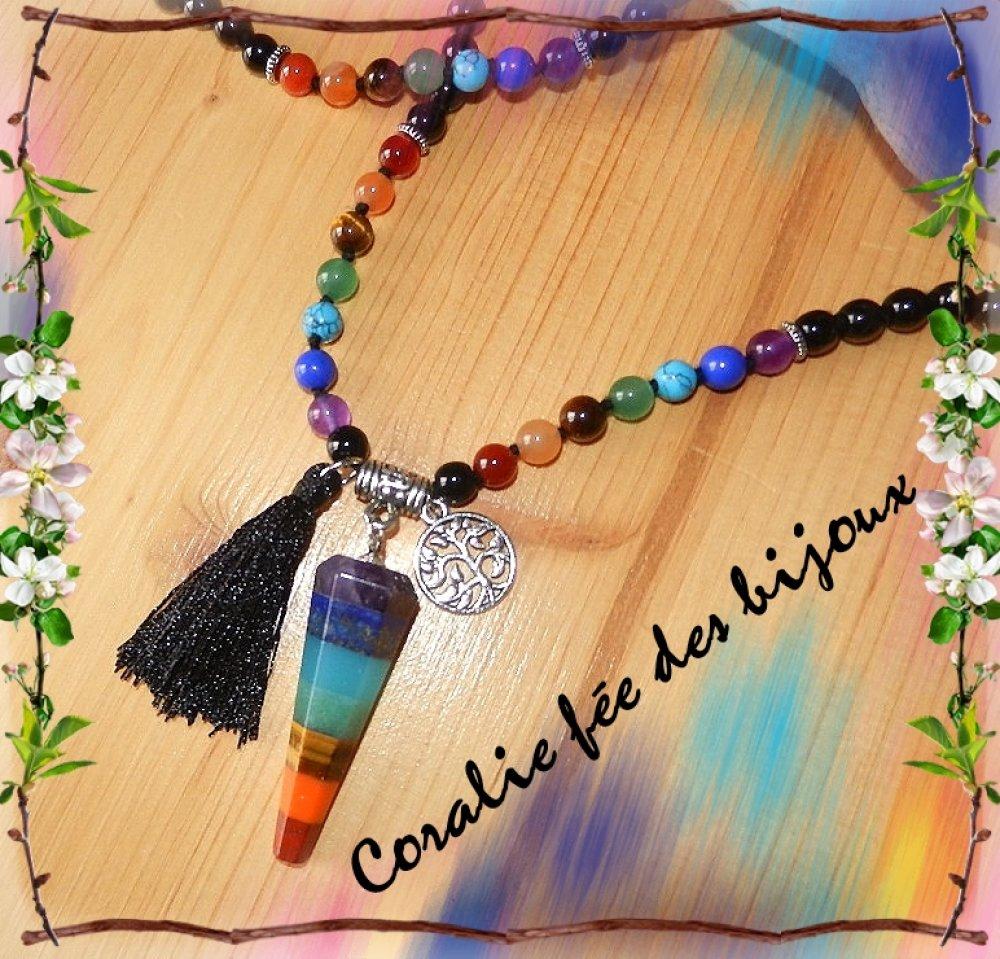 collier sautoir 7 Chakra Yoga méditation Zen perles naturelles