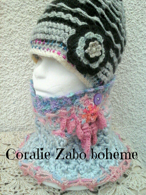 Snood femme laine , snood originale fait-main au crochet