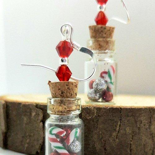 Boucles d'oreilles fiole de noël rouge et vert