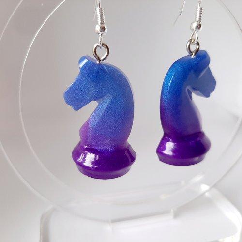 Boucles d'oreilles cavaliers violet bleu