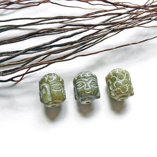 Perle tête de bouddha stylisé en jade 13x18 mm