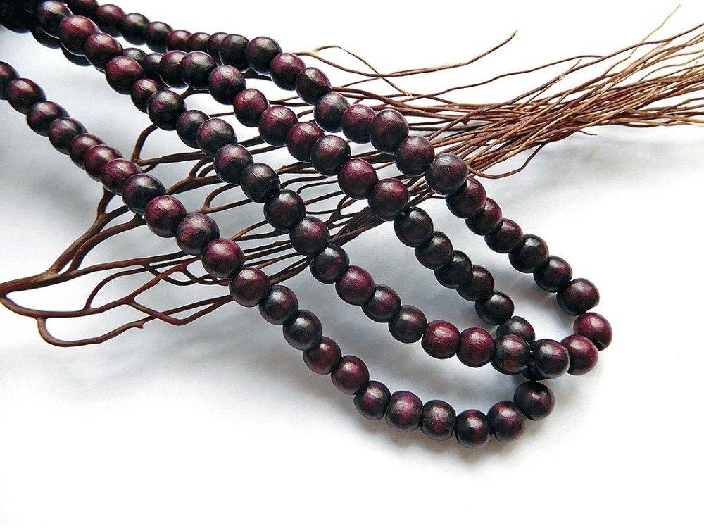 10 perles en bois de buis 7 mm bordeaux vintage