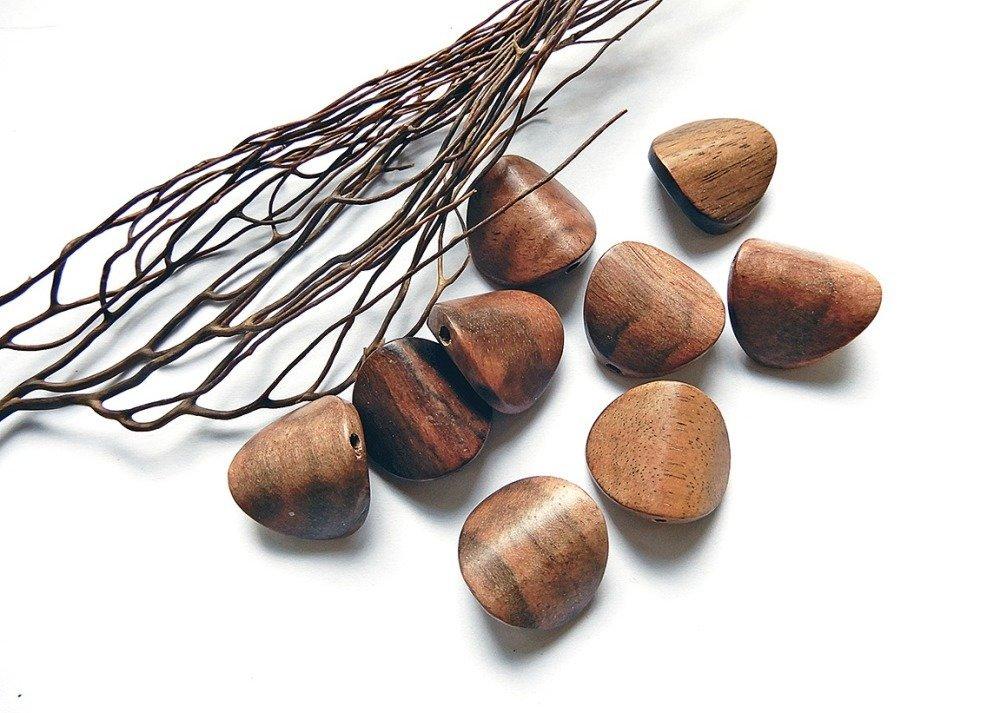 2 perles en bois de Mabolo 20 mm perles naturelles