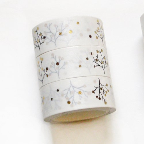 Washi tape 15 mm végétal or masking tape fin 5 mètres