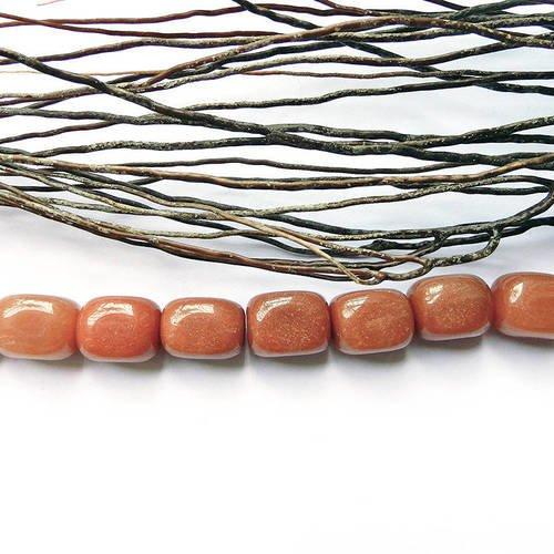 Perle en jaspe naturelle pierre orange 16 x 11 mm