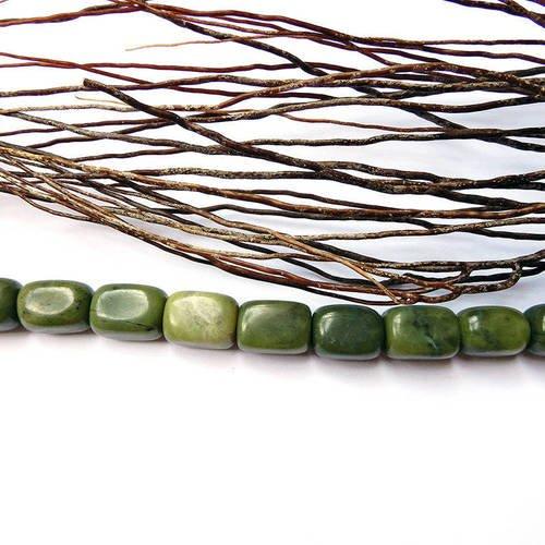 Perle en jaspe naturelle pierre verte 16 x 11 mm