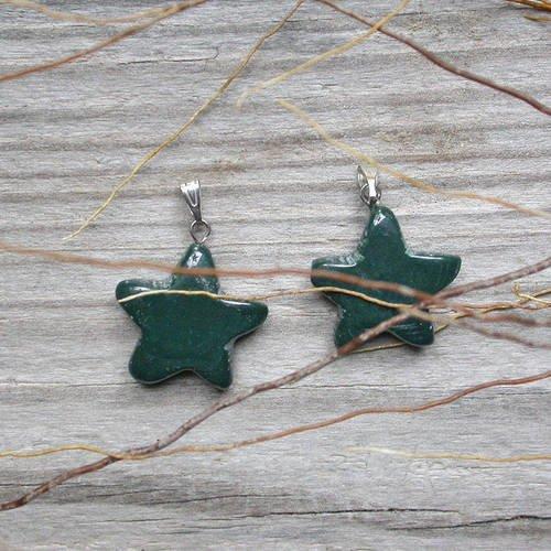 Pendentif étoile en agate indienne 22mm pierre verte marron
