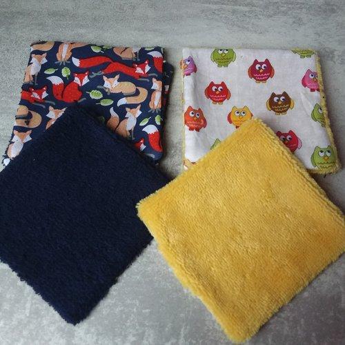 Lot de 6 lingettes  pour enfant en coton  et tissu eponge, bambou