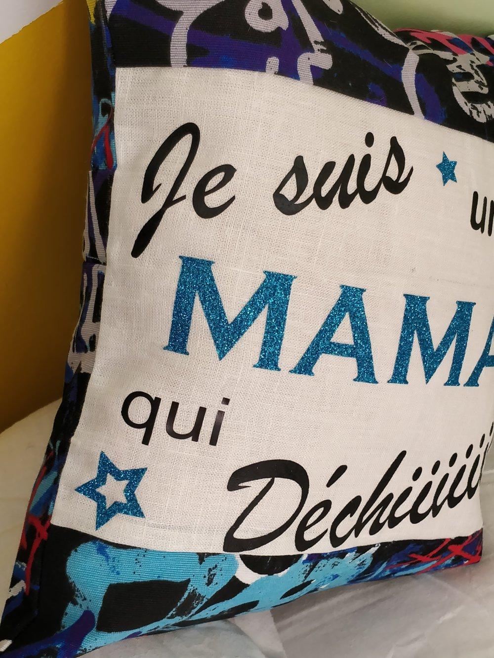 Coussin + housse Fête des mères Rock