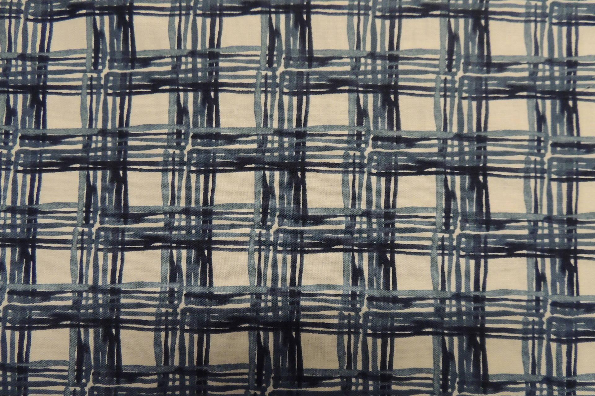 Coupon de tissu Coton  Fond bleu motif Carreaux