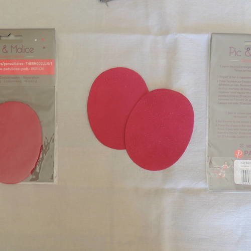 1 paire de coudières/genouillères thermocollantes rose fuschia pour vêtements