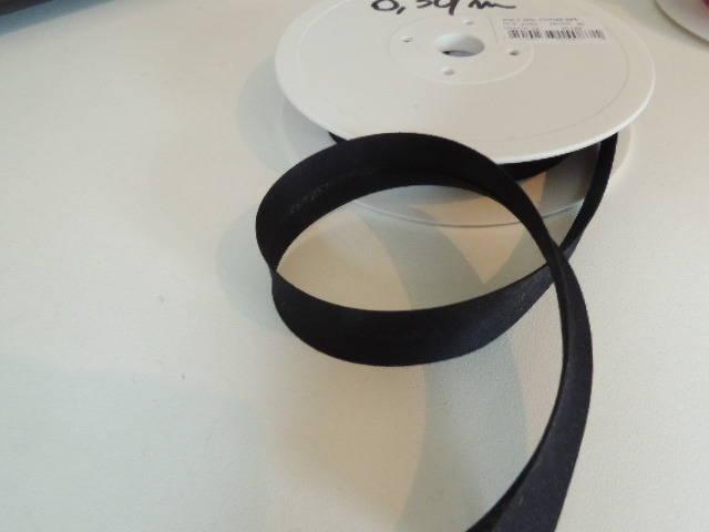 Biais replié polycoton noir largeur 20 mm