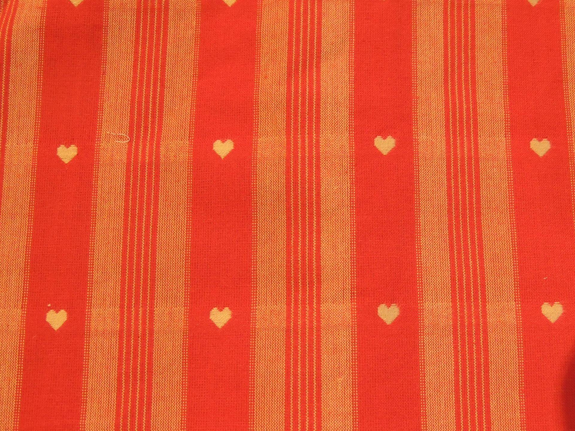 Coupon de tissu coton Rayures et coeurs beiges et rouges