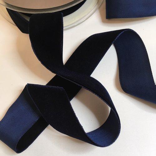 Ruban de velours couleur bleu marine largeur 25 mm