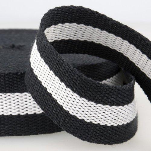 Sangle bagagère, coton, couleur noir/blanc/noir, largeur 37 mm