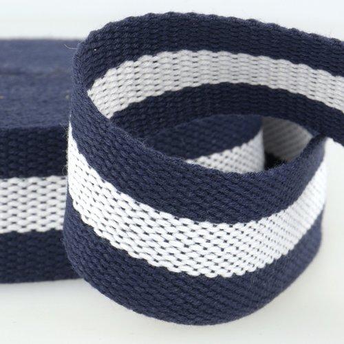 Sangle bagagère, coton, couleur bleu/blanc/bleu, largeur 37 mm