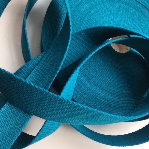 Sangle bagagère, coton, couleur bleu vert canard, largeur 30 mm