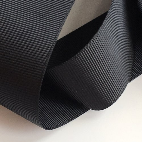 Ruban gros grain noir largeur 38 mm