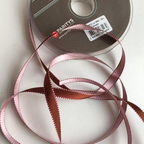 Ruban de satin double face bicolore surpiqué couleur marron et rose pâle largeur 10 mm