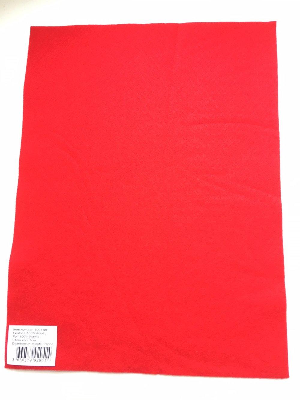 Feutrine, feuille A4, couleur Rouge