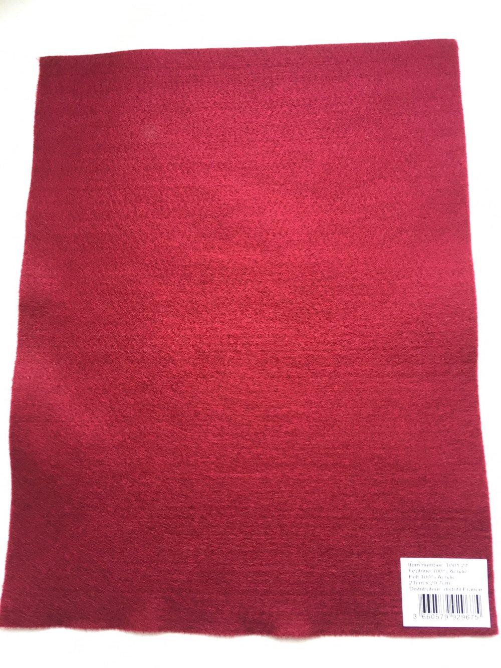 Feutrine, feuille A4, couleur Bordeaux