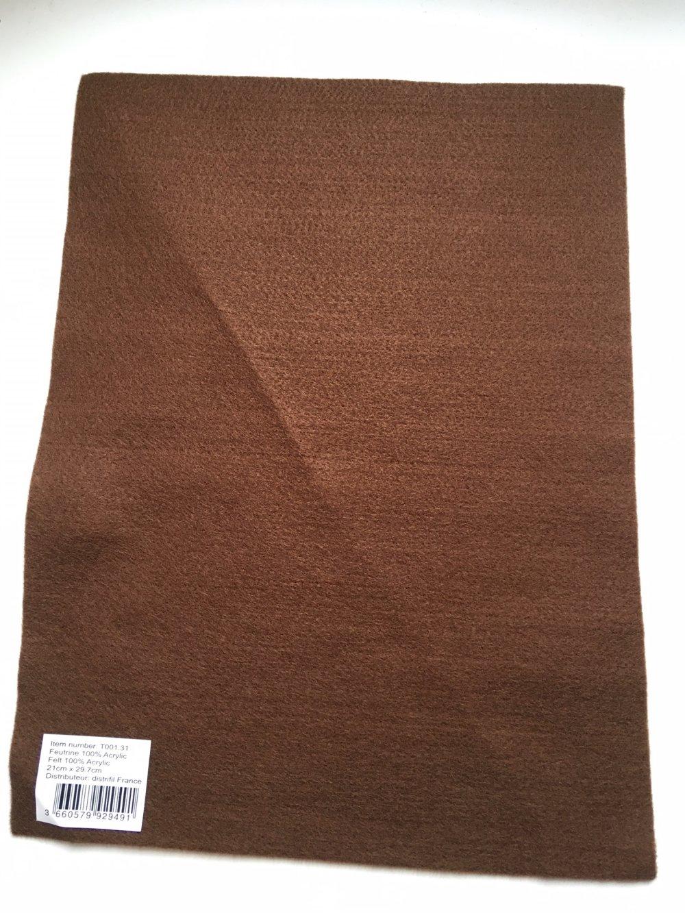 Feutrine, feuille A4, couleur Marron foncé