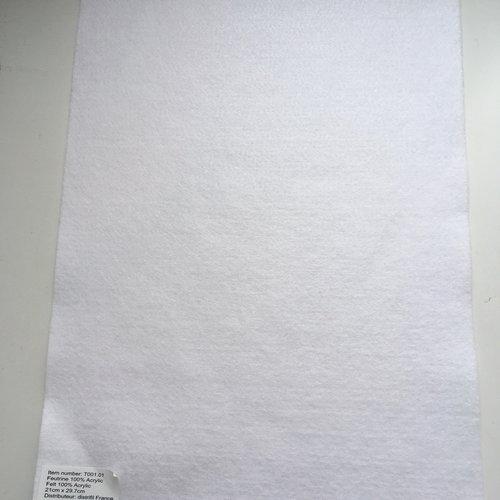 Feutrine, feuille a4, couleur blanc