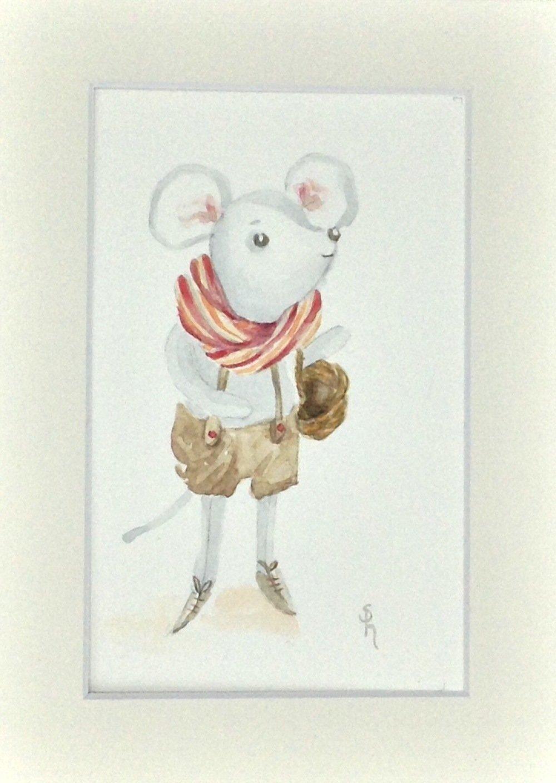 Tableau aquarelle petite souris
