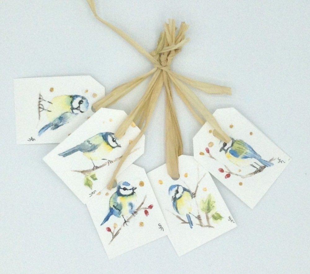 5 étiquettes cadeau aquarelle mésanges bleues