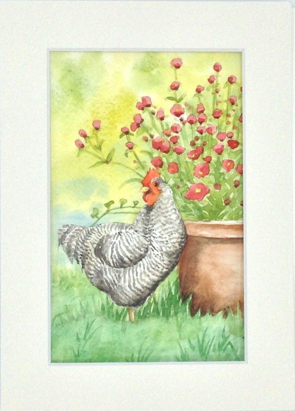 Tableau aquarelle poule