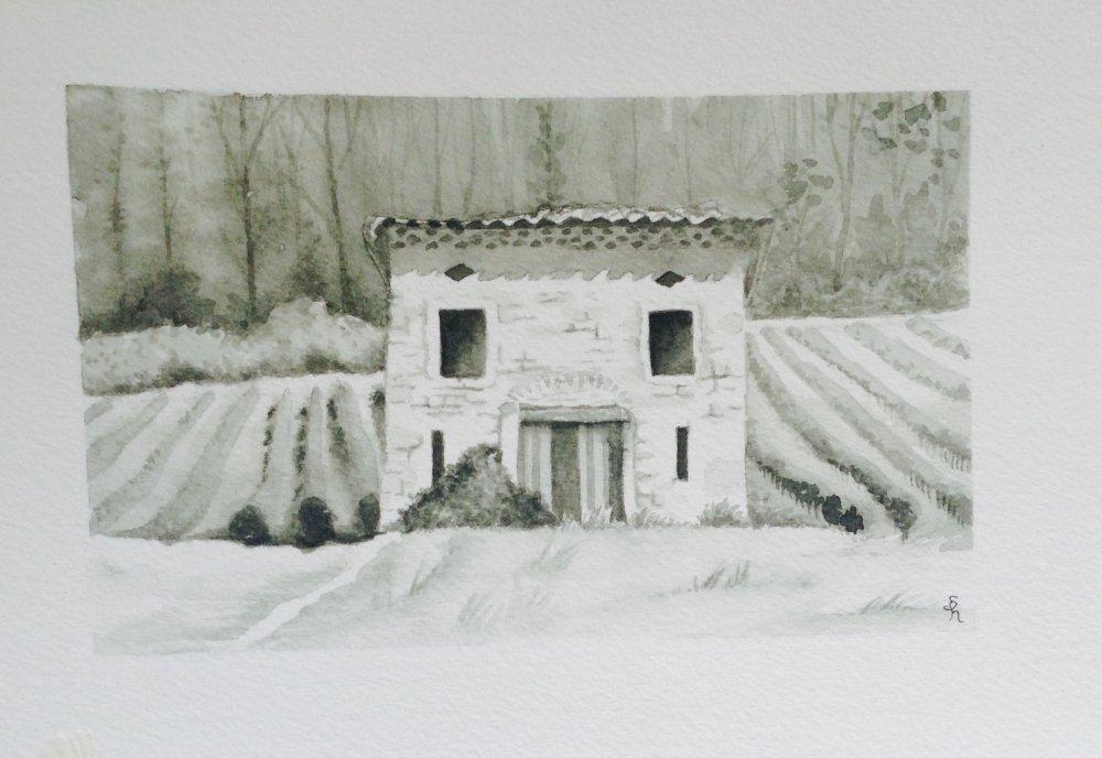 """Tableau aquarelle """"Cabanon en Provence"""""""