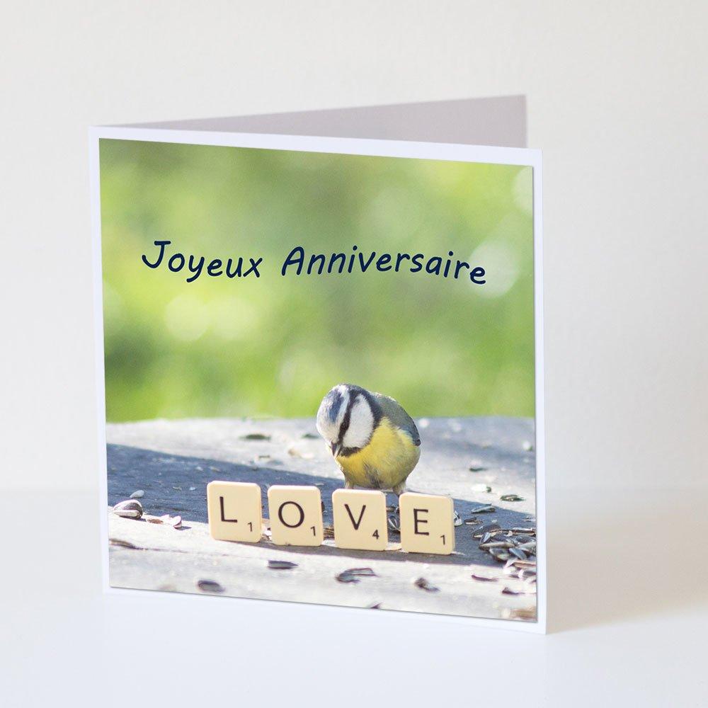 Carte Anniversaire Joyeux Anniversaire Mesange Bleue Et Love Un Grand Marche
