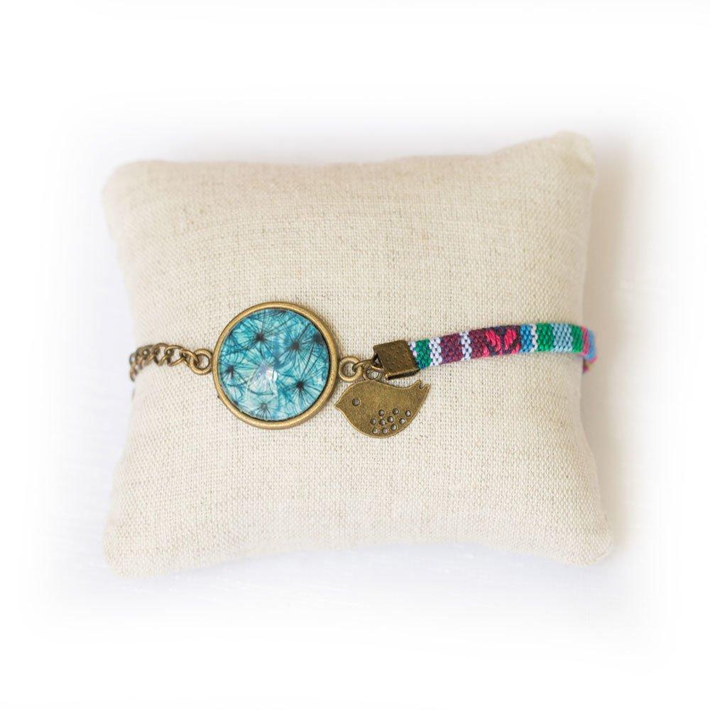 Bracelet  cabochon bleu pétrole,  cordon ethnique multicolore bleu,