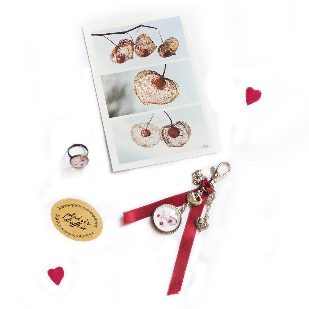 Ensemble  cadeau bague, bijou de sac thème de l'amour en cage