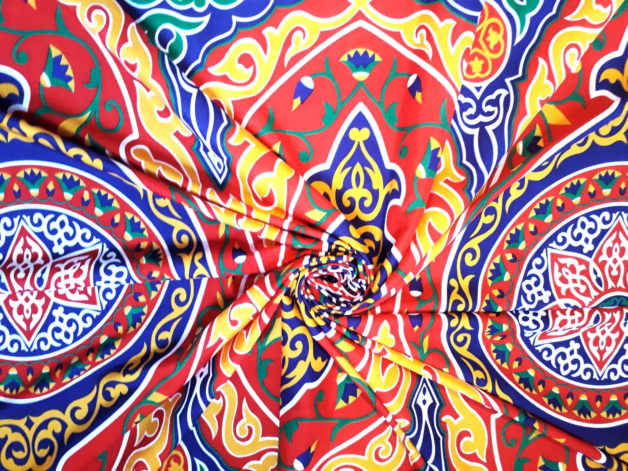 Tissu égyptien léger en polycoton . Prix pour un mandala = 60 cm.