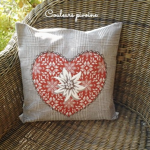 Grand Coussin Carre Et Sa Housse Tissu Tisse Coeur Edelweiss